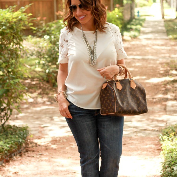 Pretty In Her Pearls | Boot cut jeans, White top, and wedges