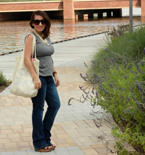 Laid back look-Peplum top, bootcut denim, and canvas tote
