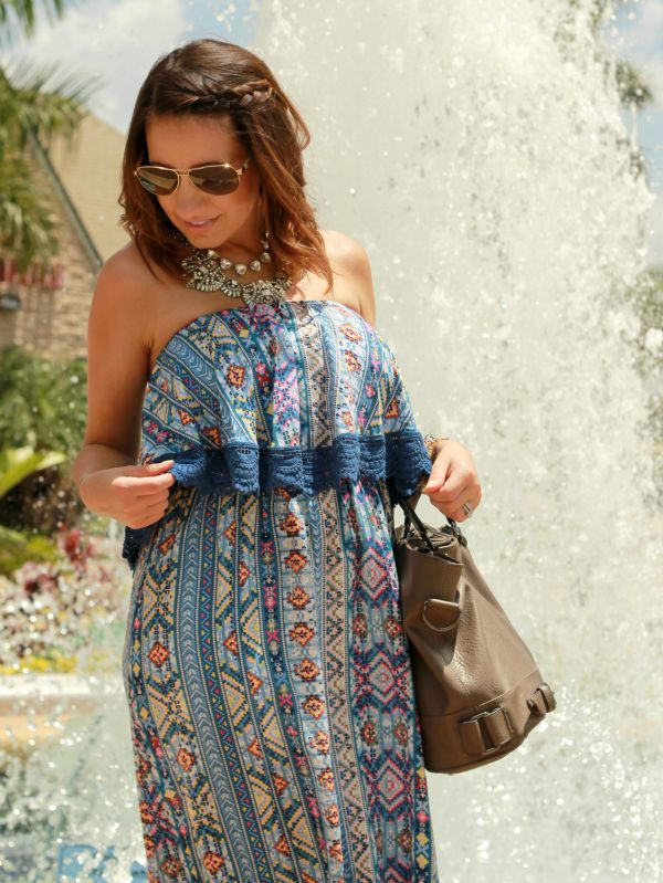 Blue Maxi with Lace Detail