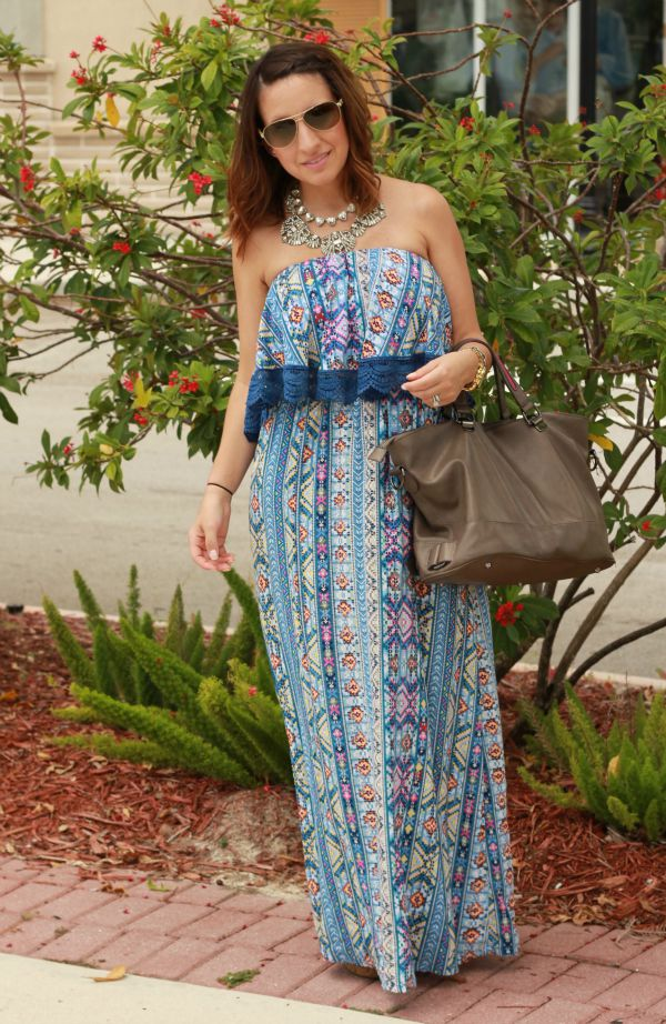 Blue Geometric Tribal Maxi