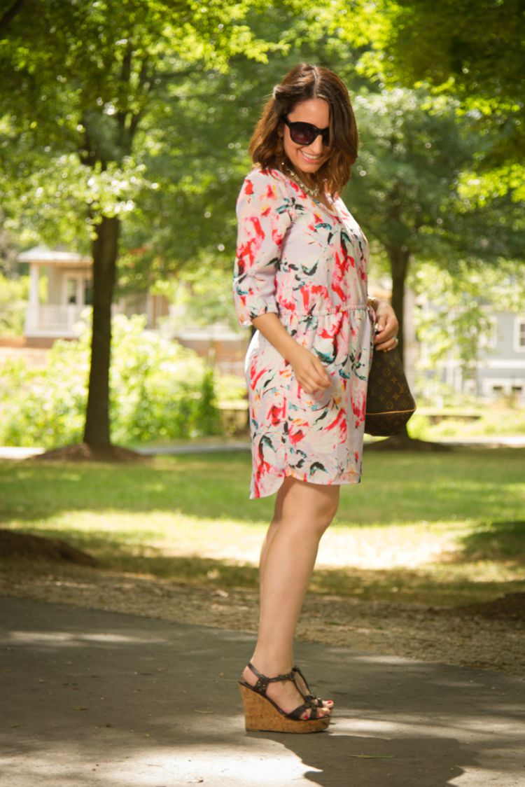 Floral pink and lavender dress, sunnies, and wedges