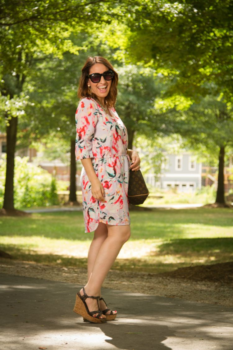 Summer style-Floral dress and wedges