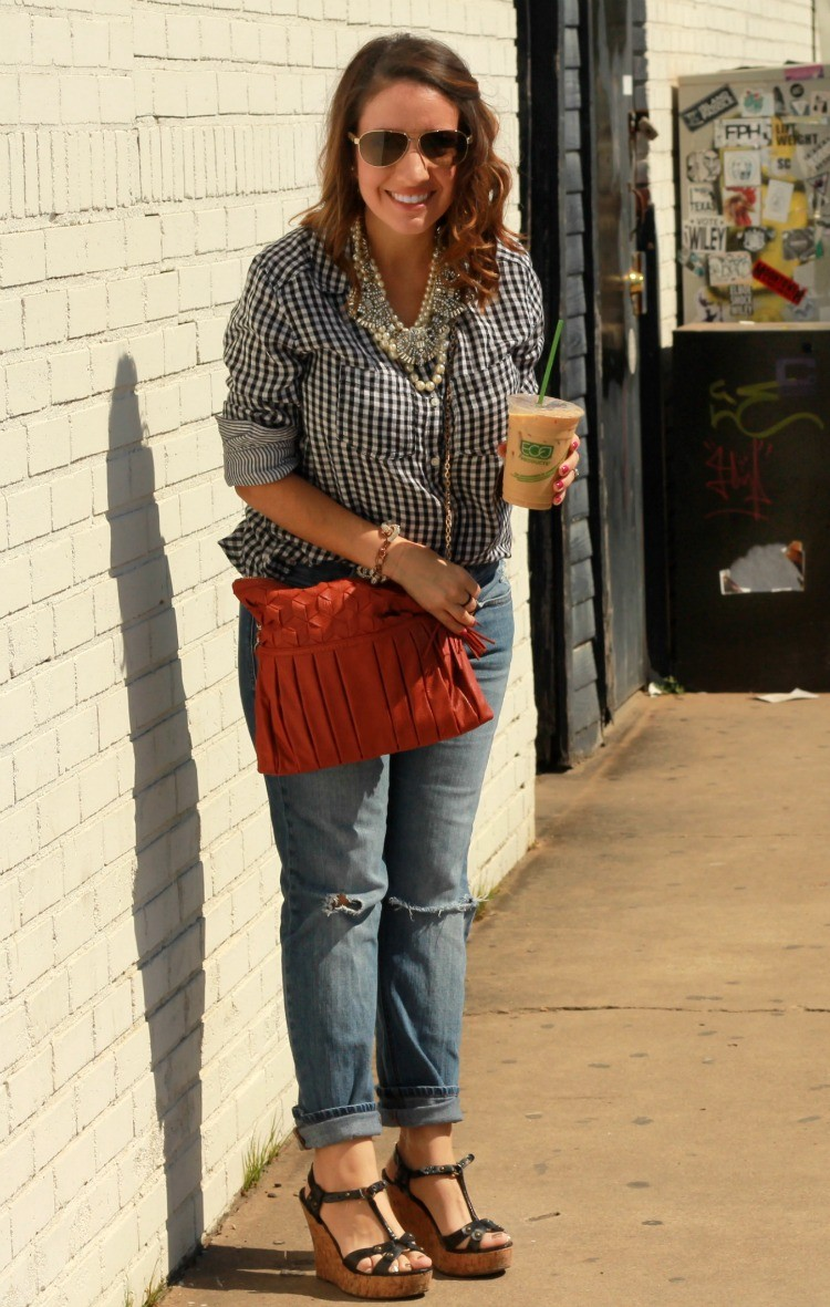 Fall Style-Black and white gingham and distressed boyfriend jeans