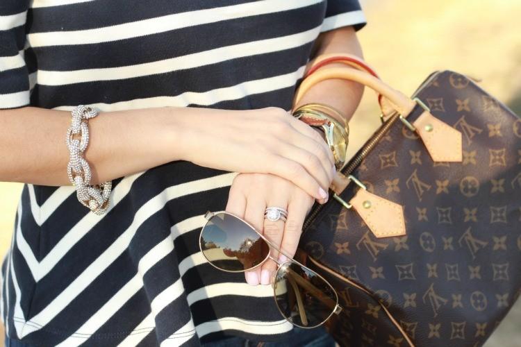 Closeup striped peplum and accessories