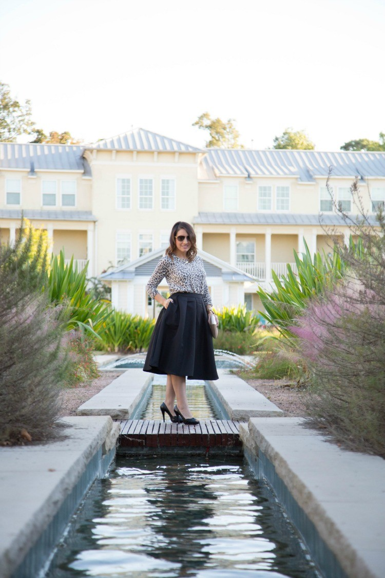 Fall Style-Leopard, midi skirt, and peeps