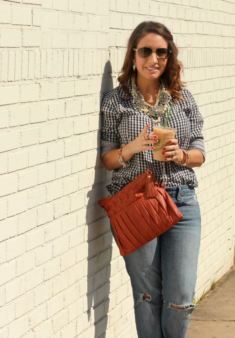 Fall Look-Gingham, distressed boyfriend jeans, and orange bag