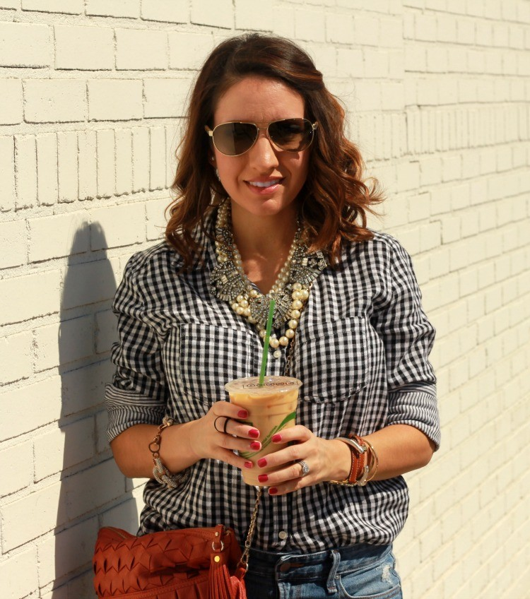 B.P. Gingham button up, sunnies, and layered statement necklaces