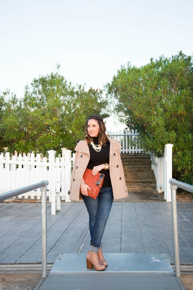 Fall Style-Peacoat, turtle neck, skinnies, and booties