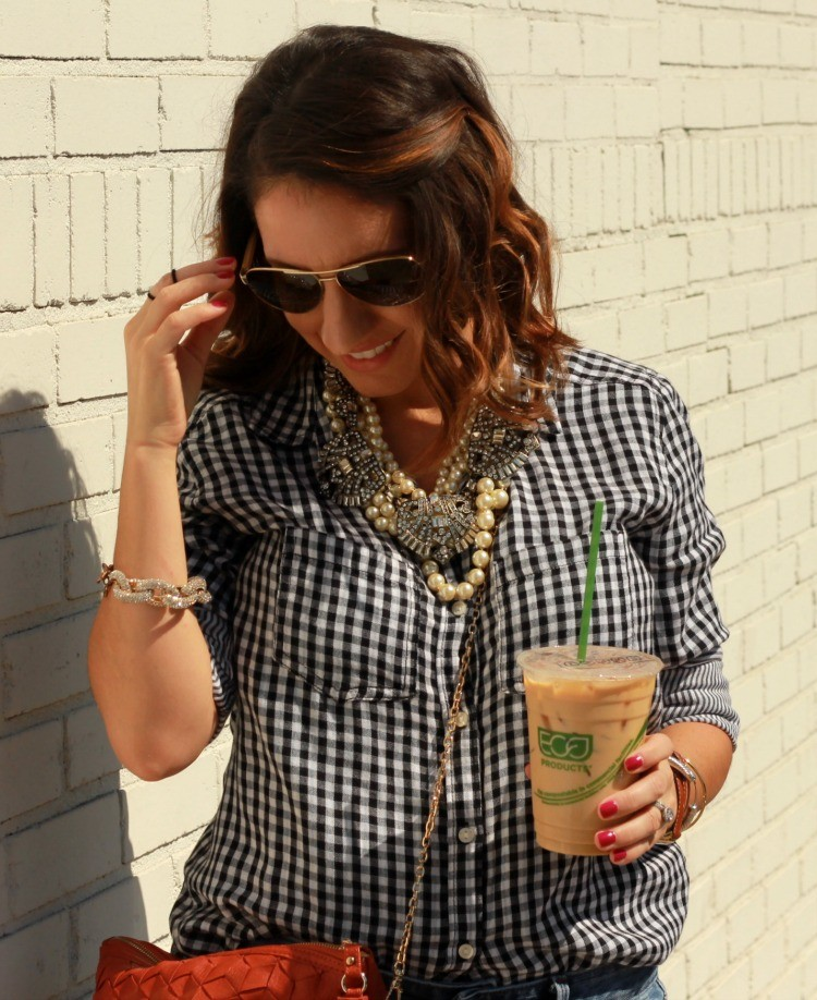 Sunnies, gingham, and layered statement necklaces