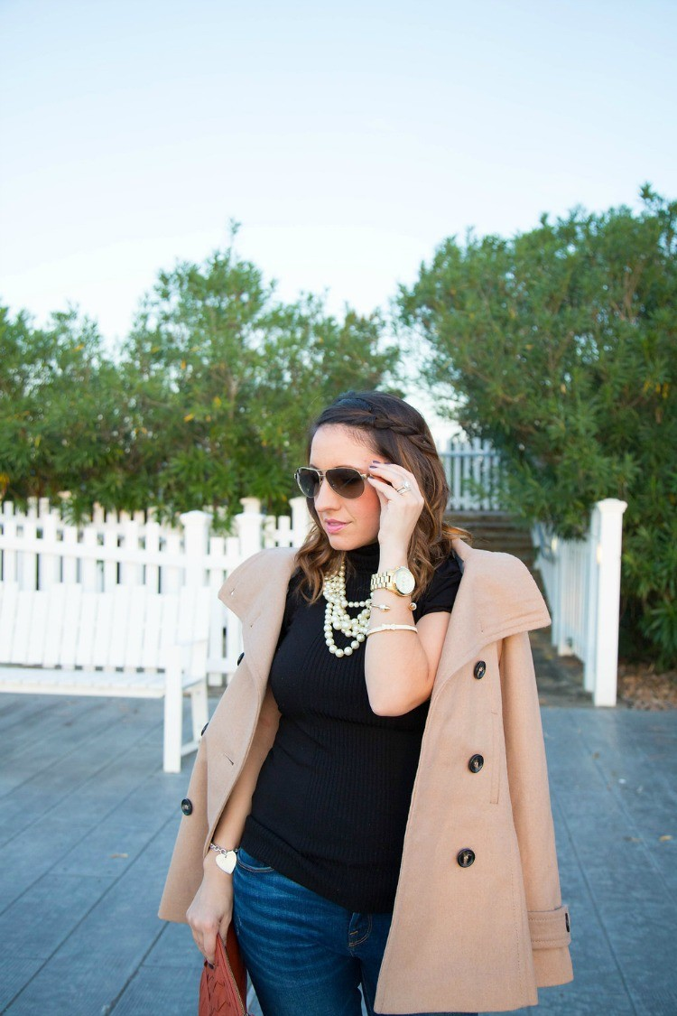 Sunnies, loose waves, side braid, and pearls