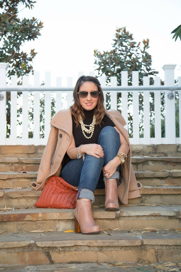 Fall Style-Peacoat, turtleneck, skinnies, and booties