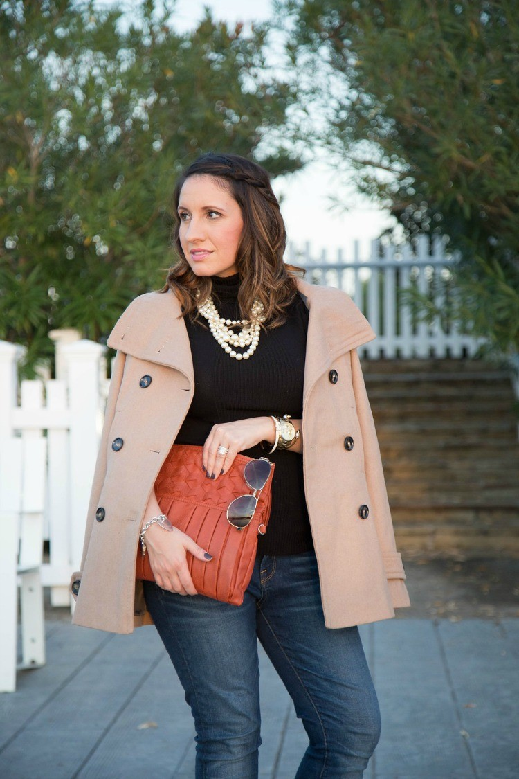 Fall Style-Peacoat, black turtleneck, and orange bag