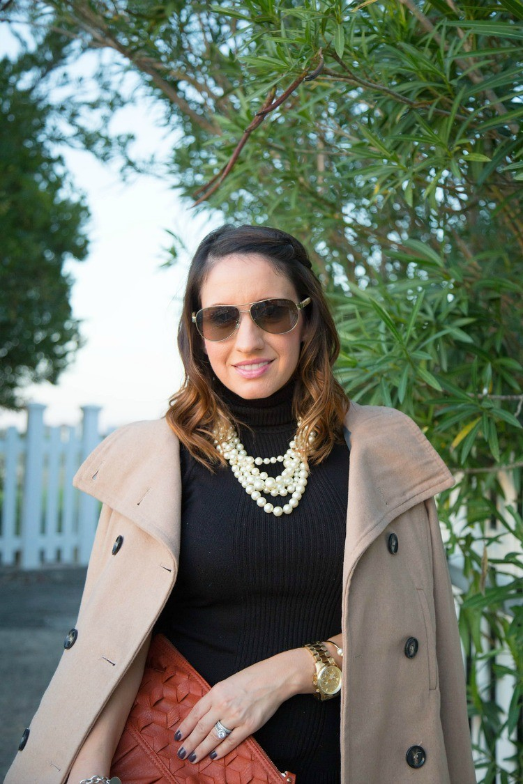 Fall Style-Peacoat, pearls, and turtle neck