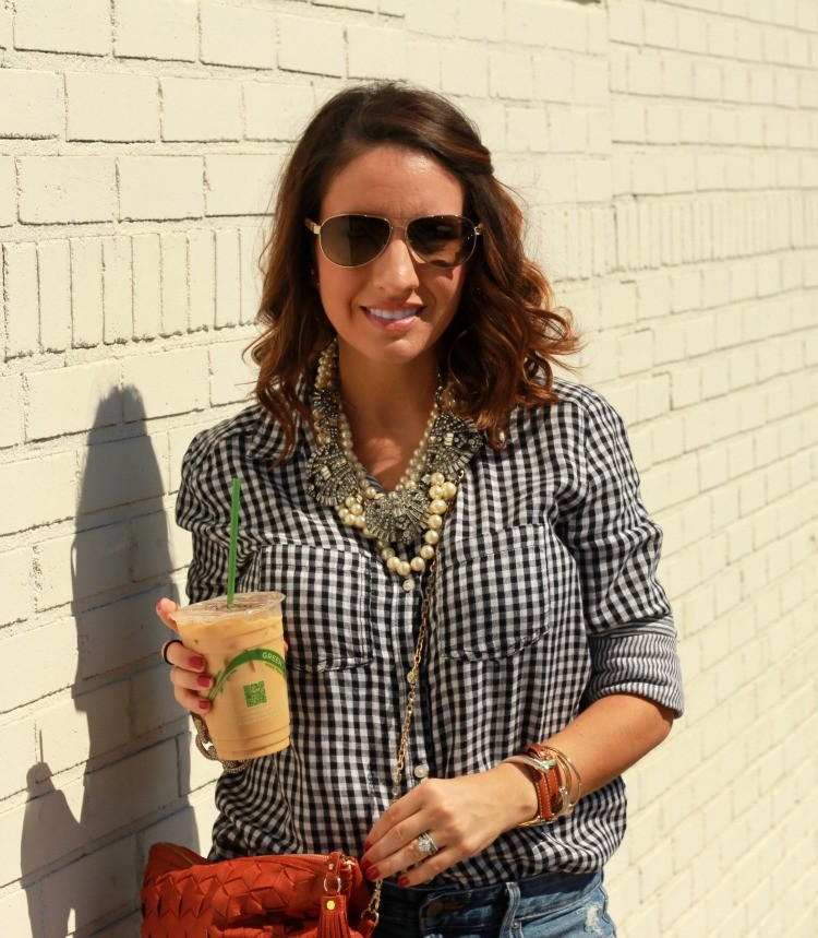 Black and white gingham, layered statement necklaces, and sunnies