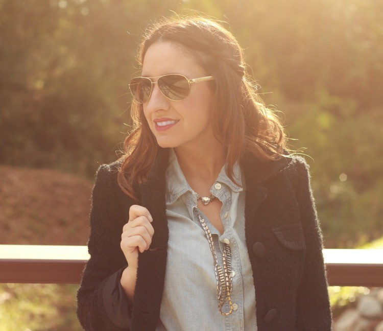 Black jacket, chambray top, and accent braid