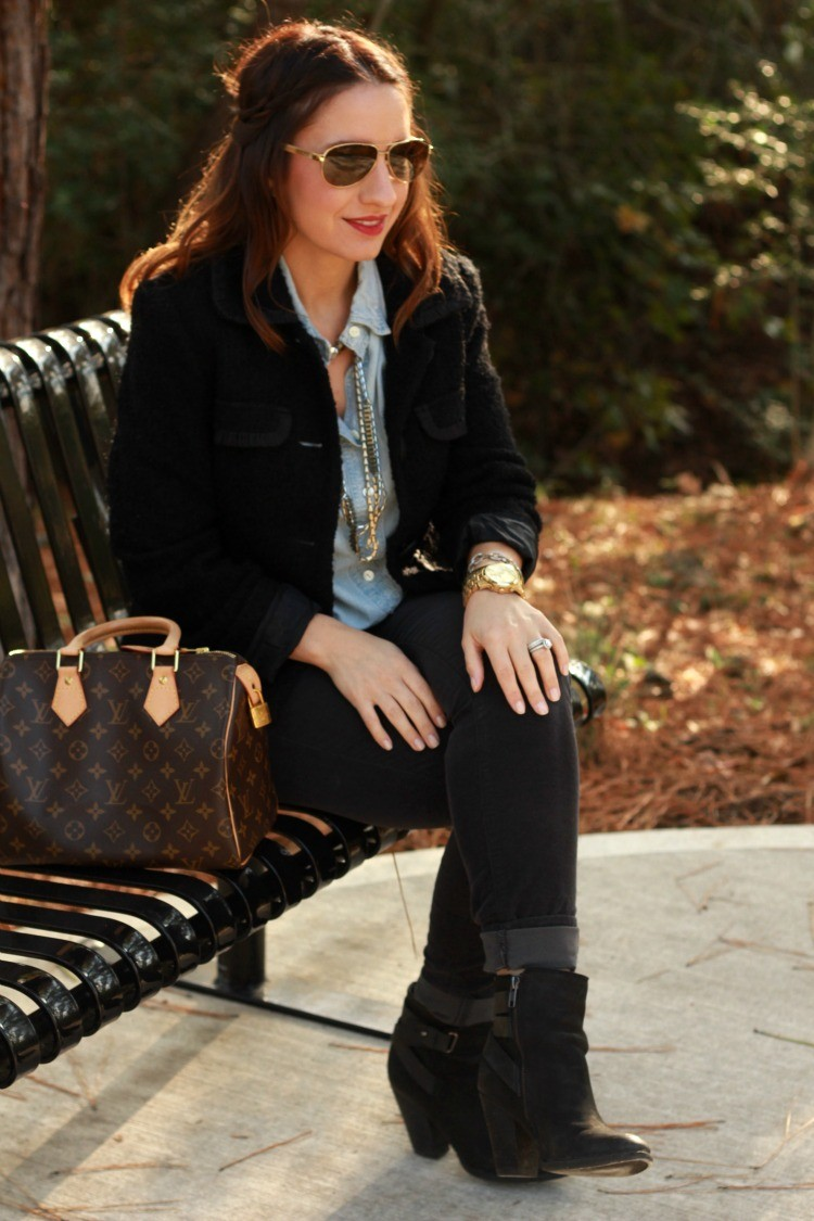 Casual fall outfit with chambray top, and booties