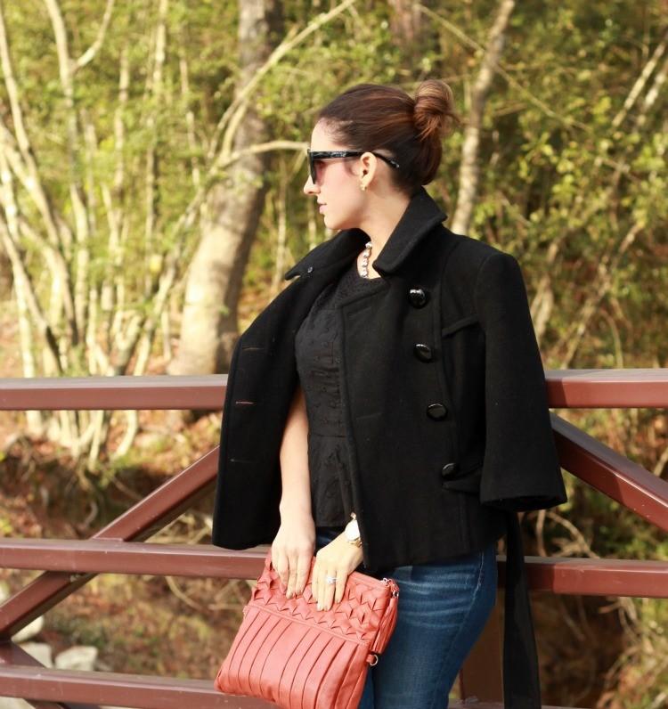 Fall Peplum, top knot, skinnies, and tassel clutch