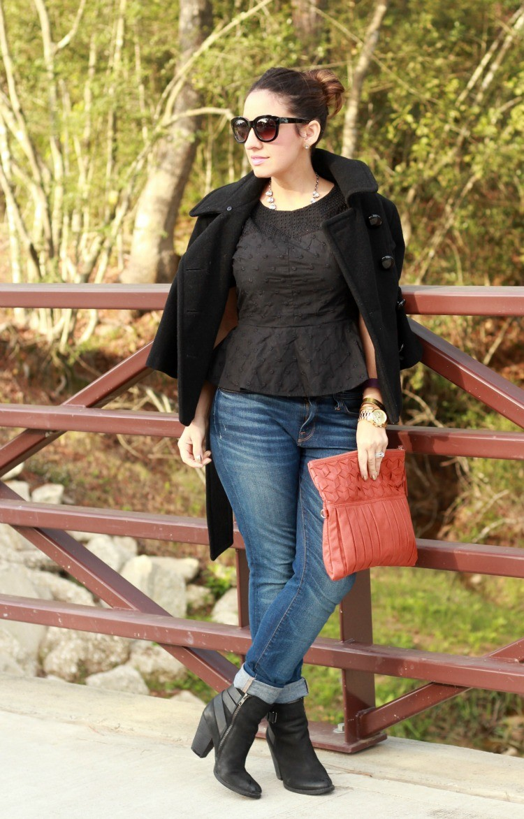 Fall Peplum Outfit with skinny denim