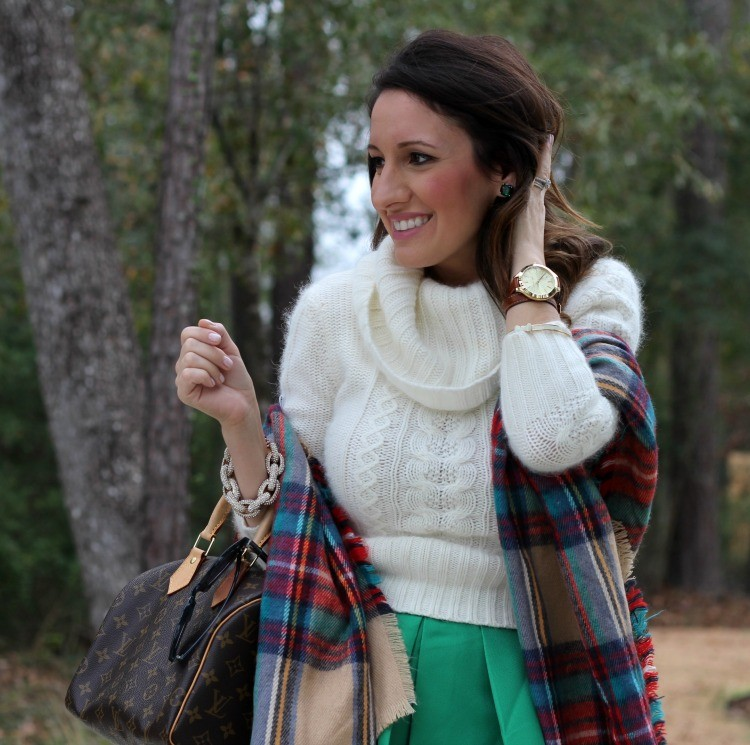 Emerald green Kate Spade earrings and plaid shawl