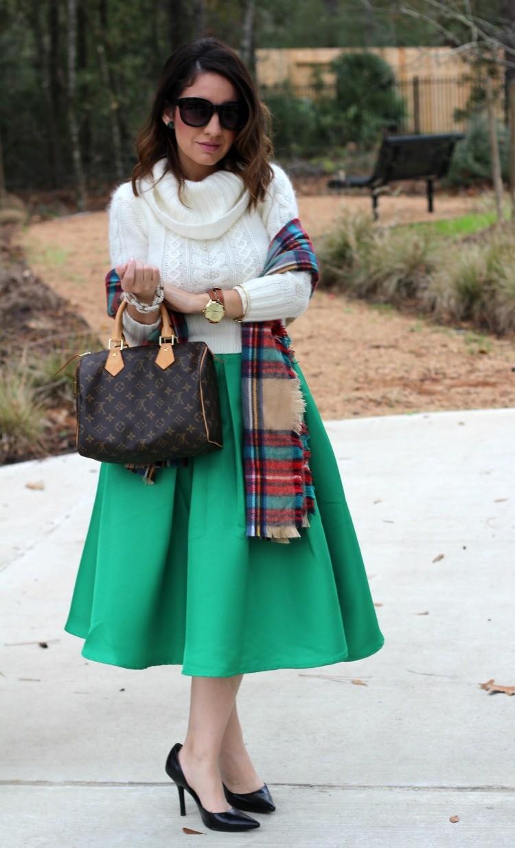 Green Flare Pleated Midi Skirt