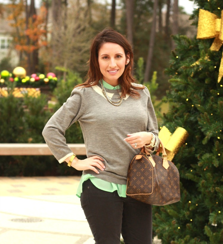 Grey Tippi sweater, corduroy skinnies, and gold accessories