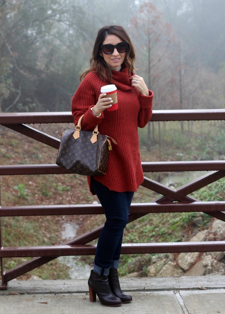 Turtleneck Sweater, Dark Skinny Denim, and booties