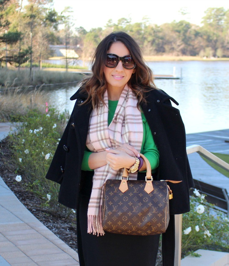 J.Crew Tippi Green sweater and pink Burberry Scarf