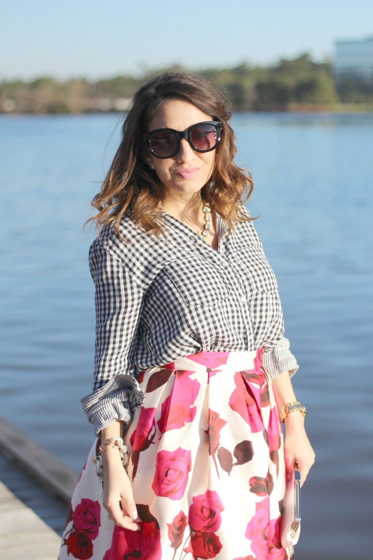 Black sunnies,Gingham top, and Chicwish rose miniskirt