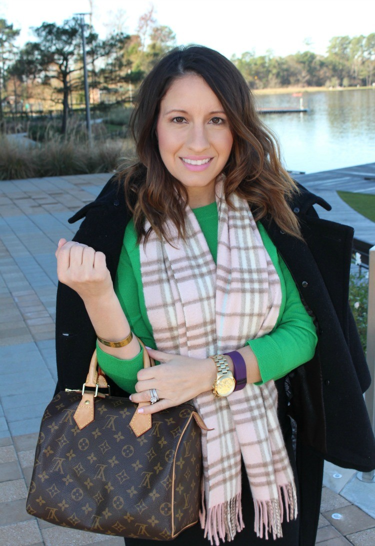 Coat,green sweater, and Louis Vuitton bag