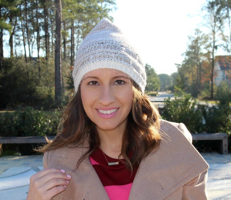Delicate M necklace, and beanie