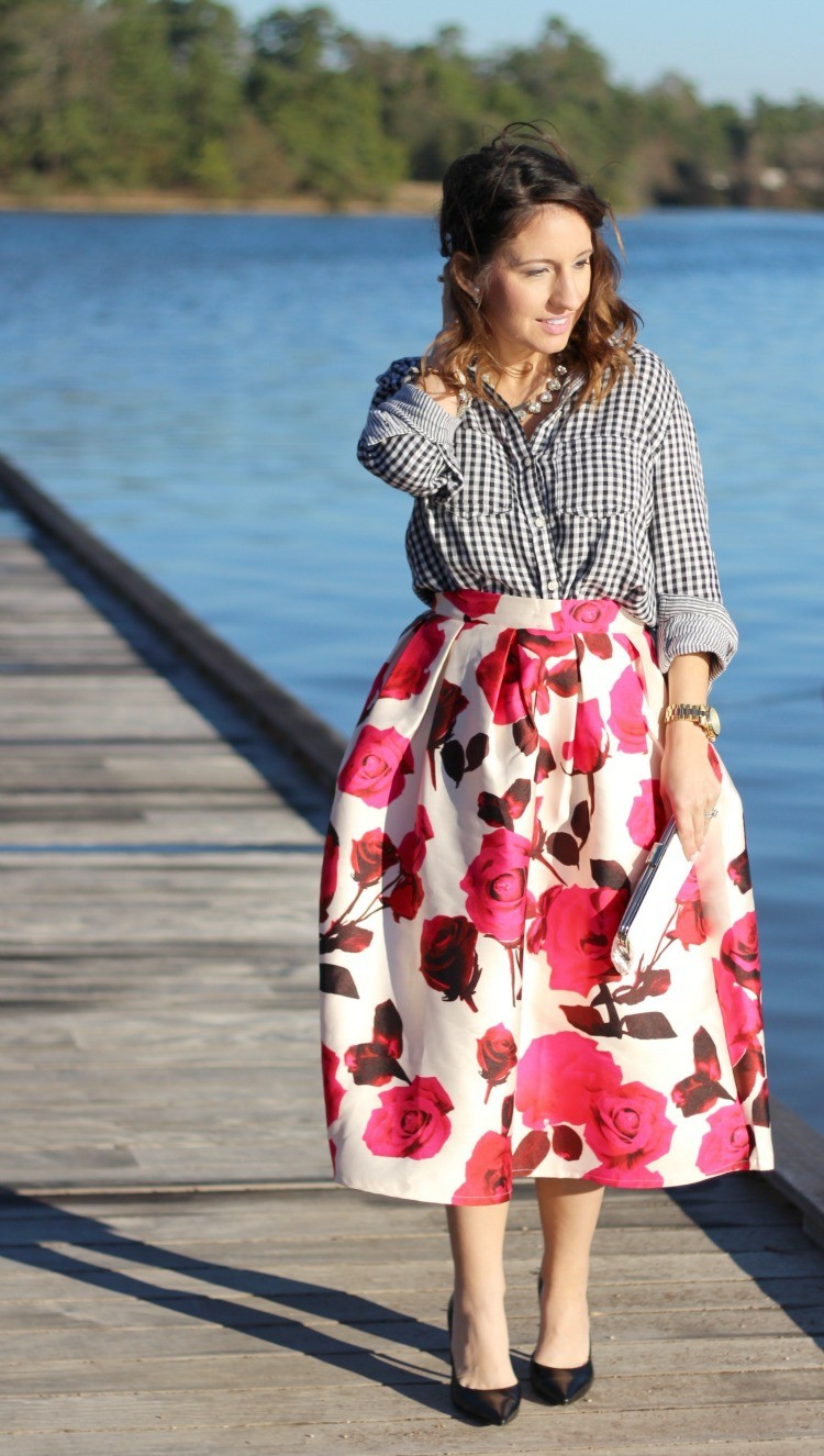 Gingham top, a line midi skirt, and heels