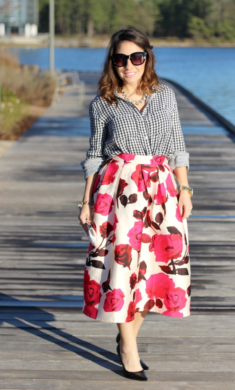 Gingham top, rose bud midi skirt, and black heels