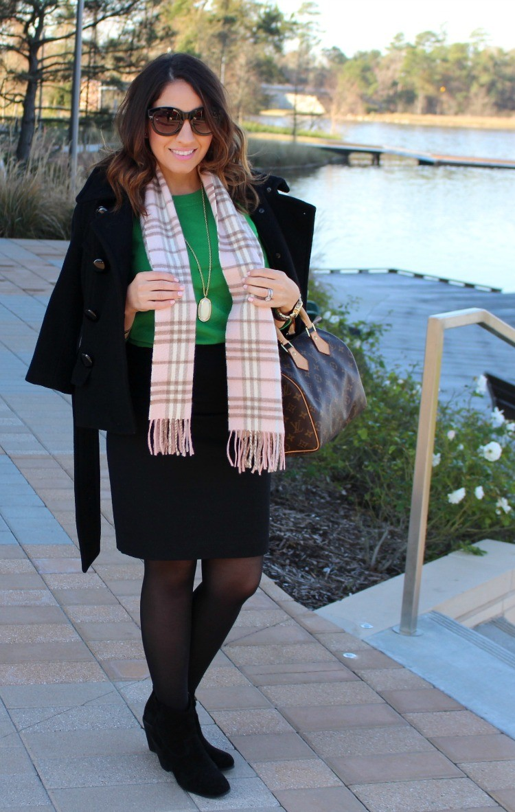 Green sweater, pencil skirt, tights, and booties