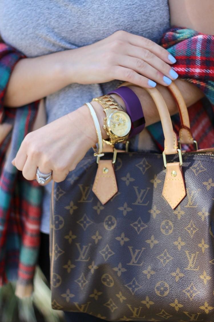 Kate Spade bow bracelet, scarf, and brown Louis Vuitton purse