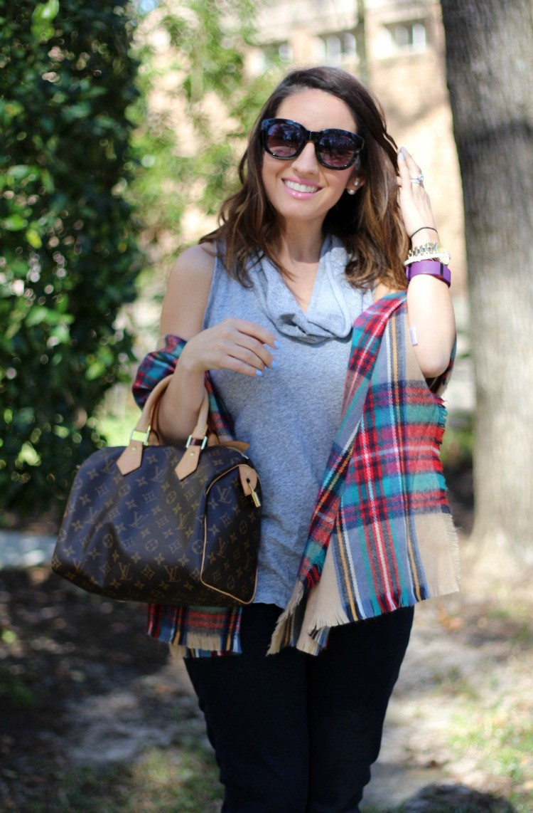 Plaid scarf, and cowl neck top