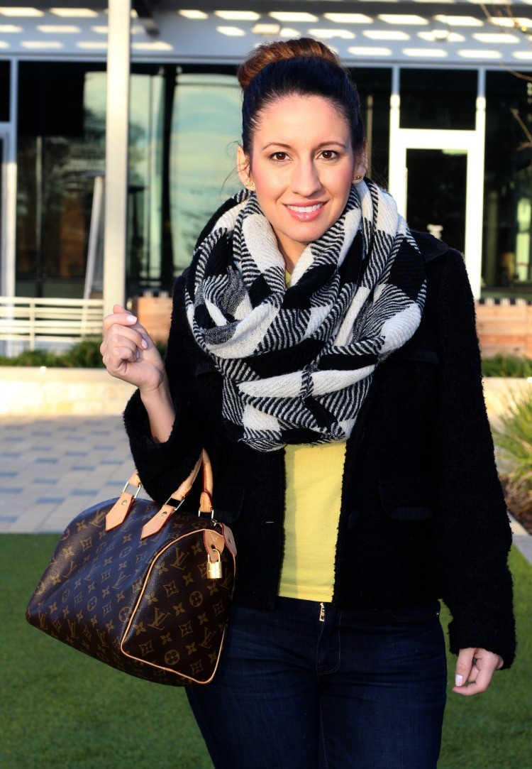SJP bun, infinity scarf, and Louis Vuitton bag