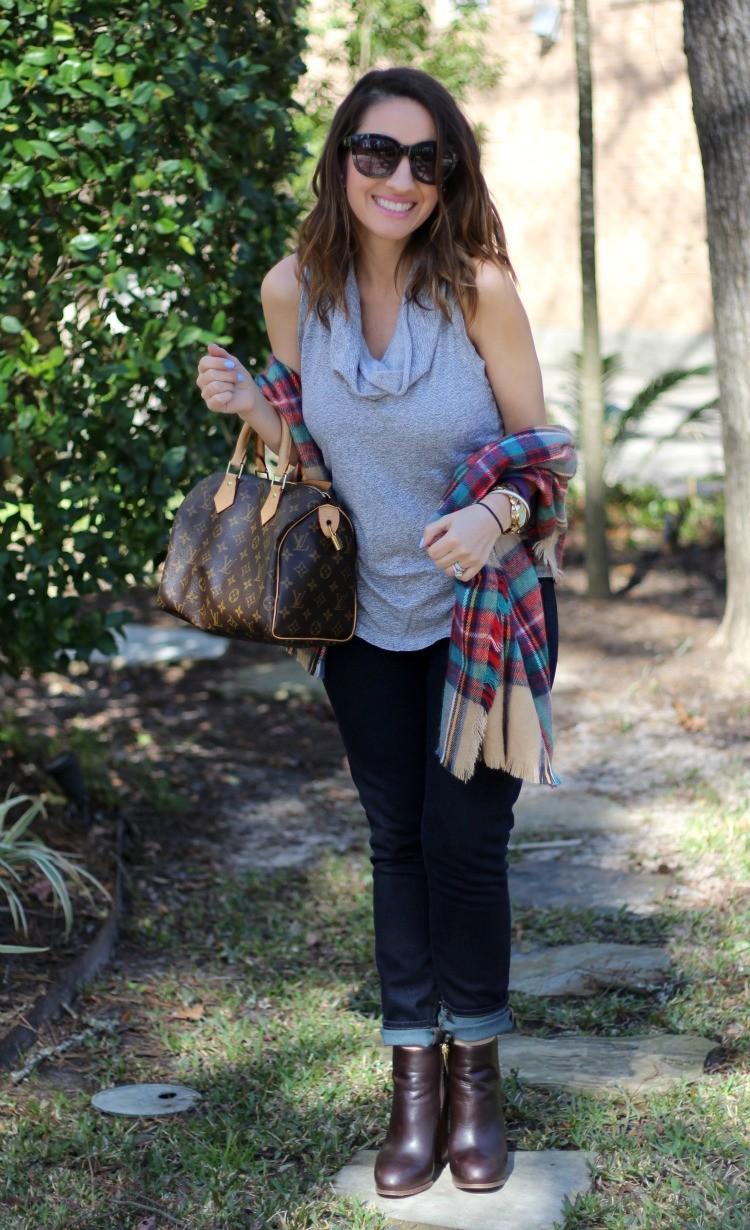 Sunnies, plaid scarf, skinnies, and booties
