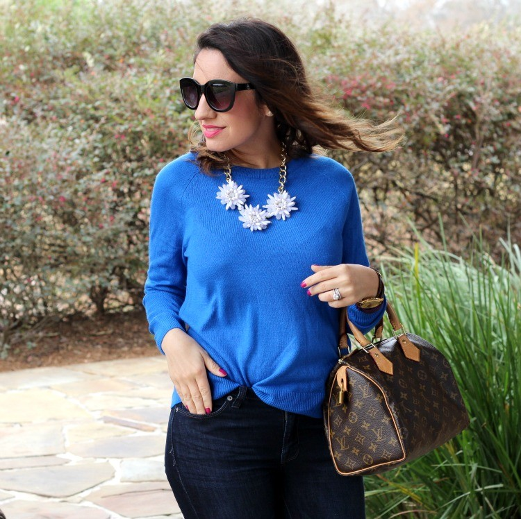 Bright blue sweater, and dark denim