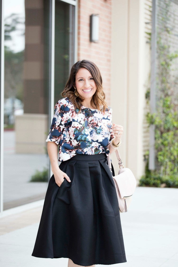 Floral crop top and pleated midi skirt
