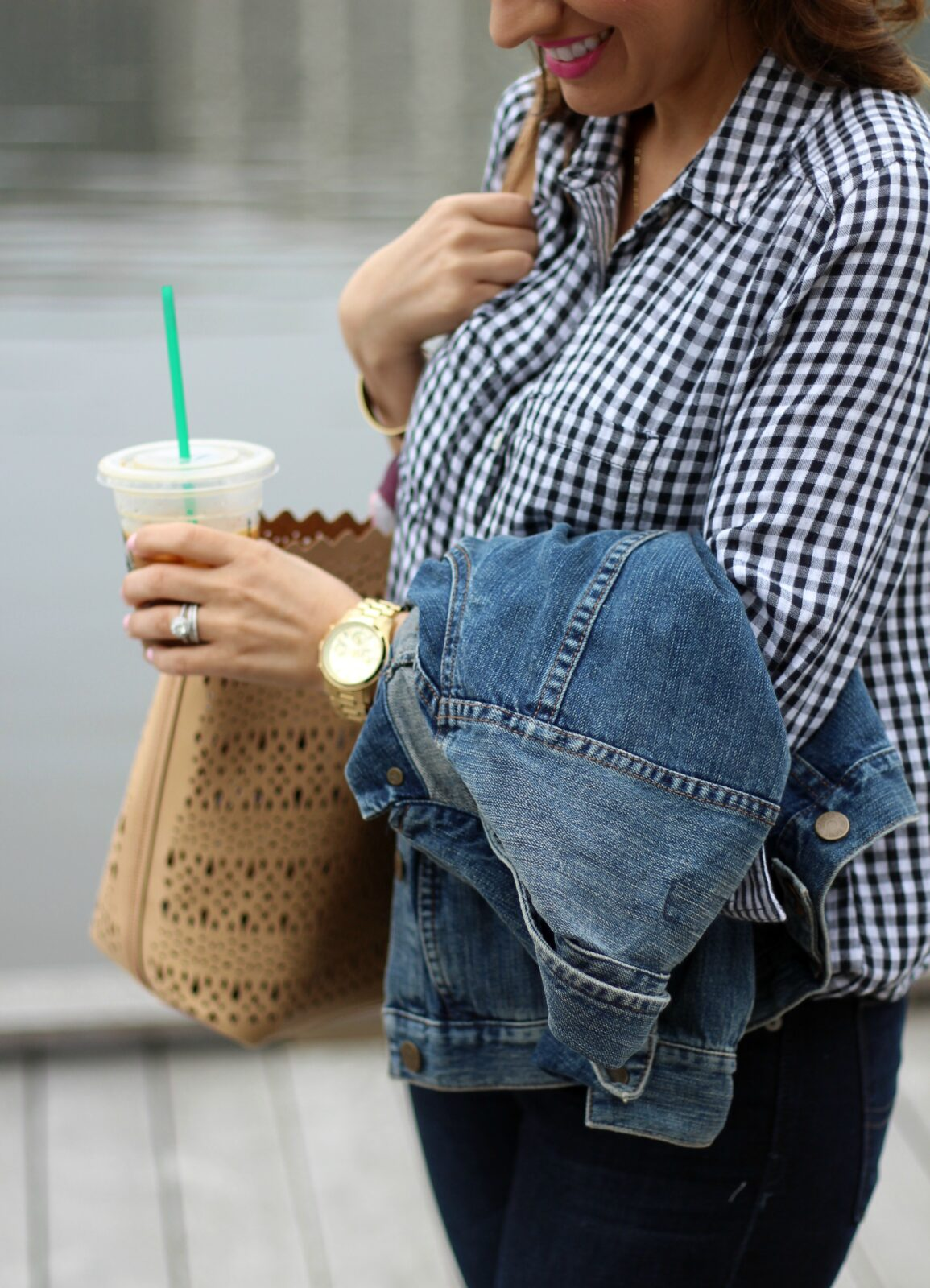 Gingham top, denim jacket, and starbucks