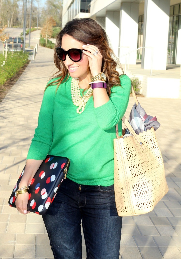 Green sweater, Dark blue skinnies, and pearls