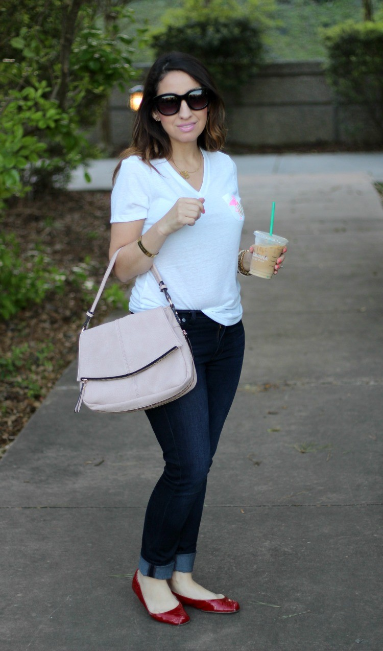 Monogramed V-neck, skinnies, and red flats