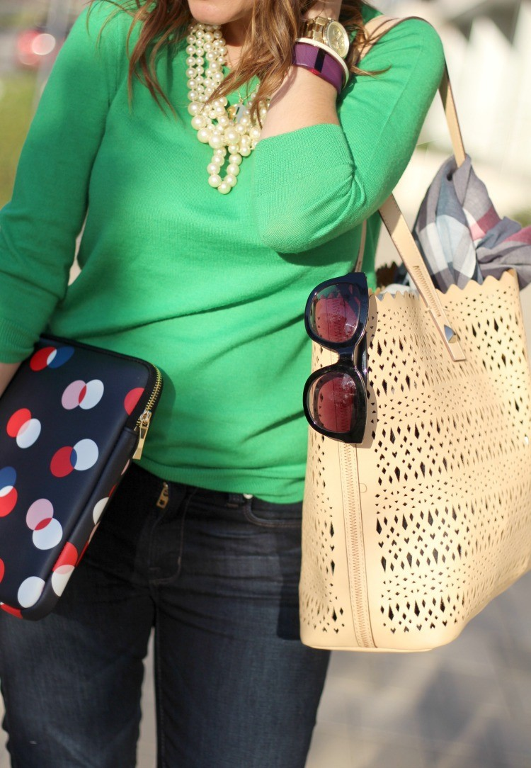 Nude hand bag and Kate Spade Lab top sleeve