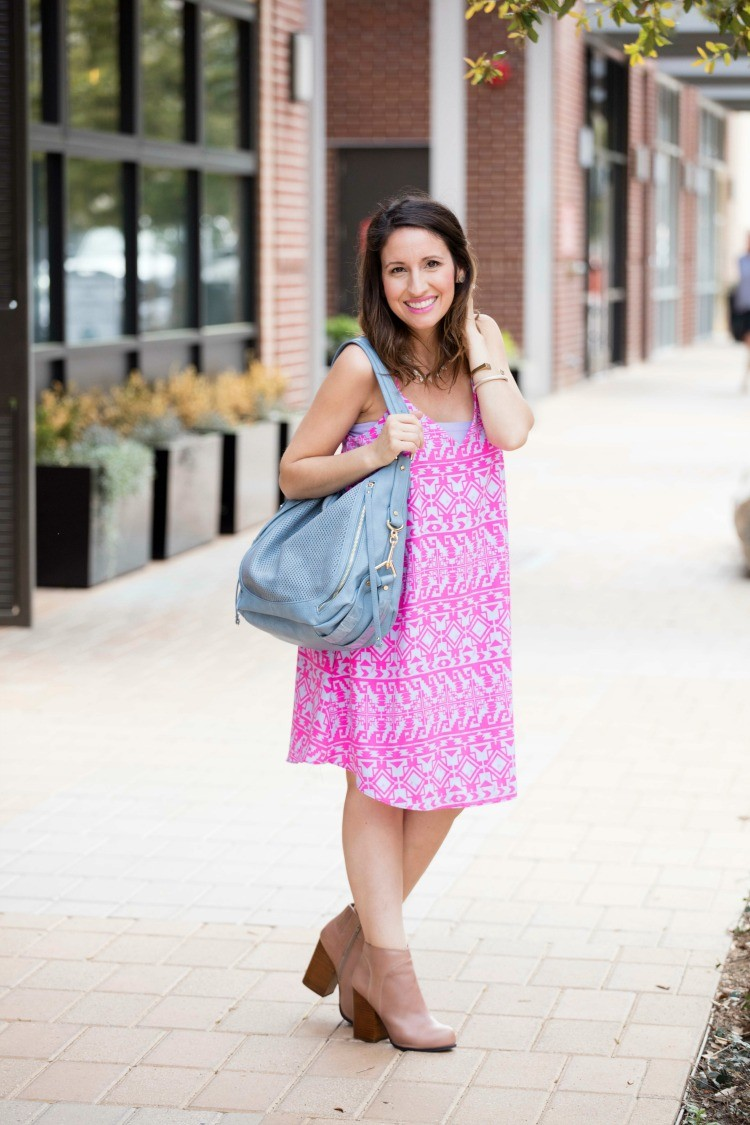 Pink tribal dress and must have summer bag