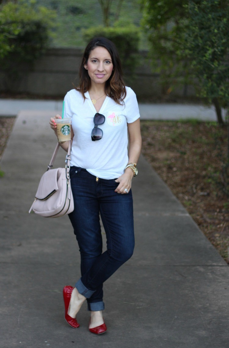 Starbucks, sunnies, and monogramed tee