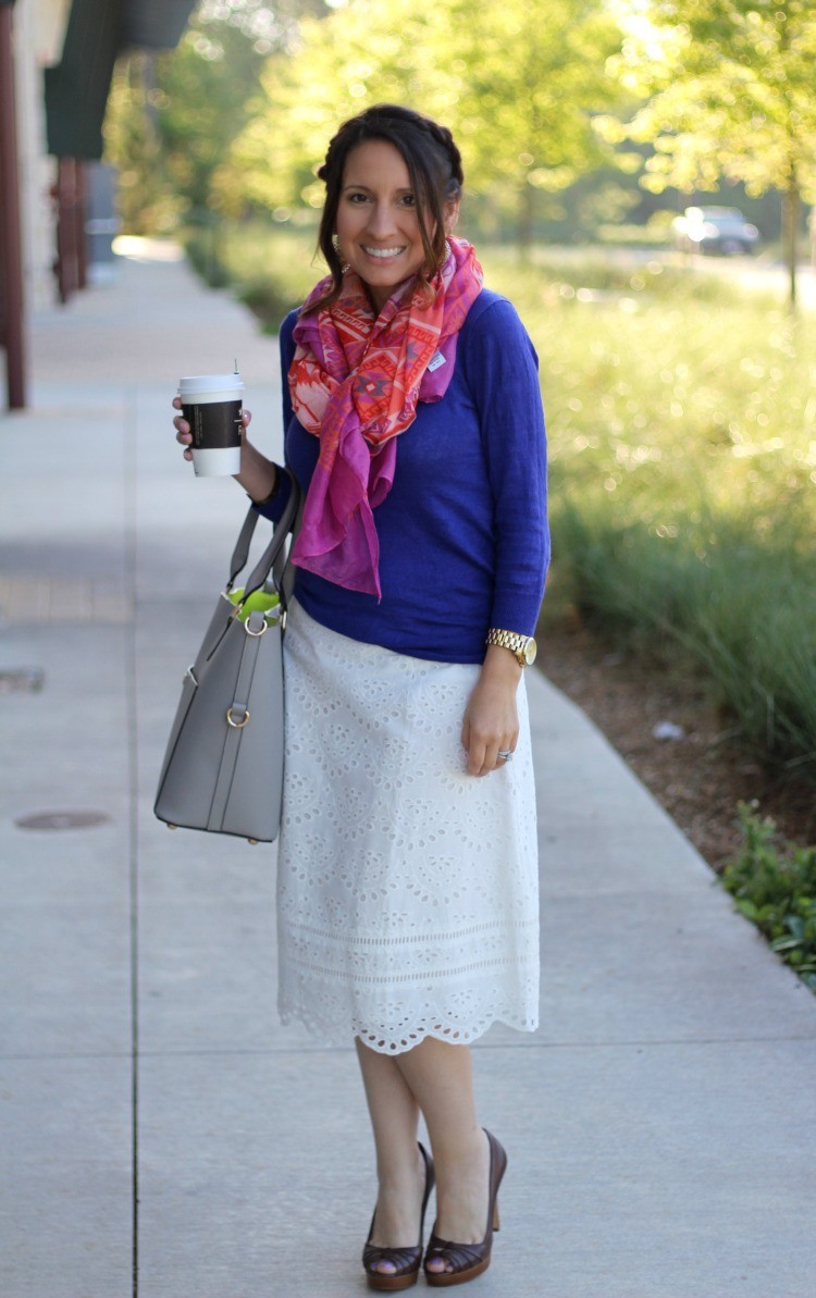 Aztec print scarf, purple sweater, white scalloped skirt, and peep toe shoes