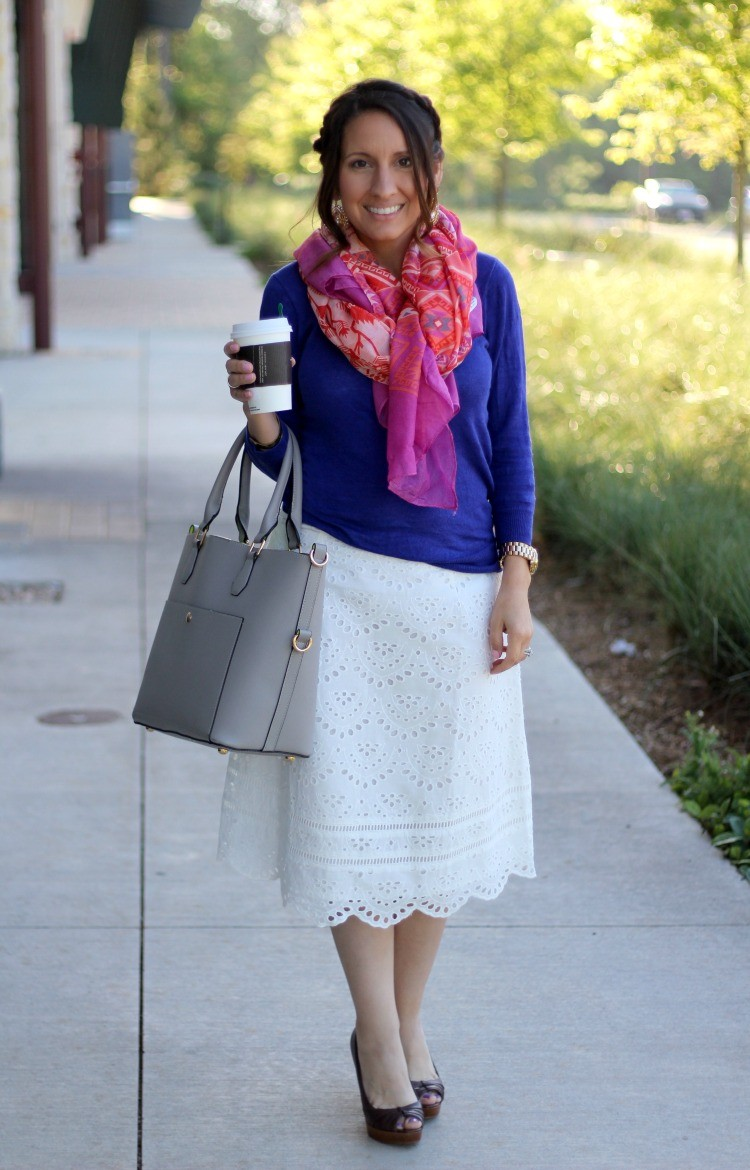 Spring layered outfit with the cutest scarf