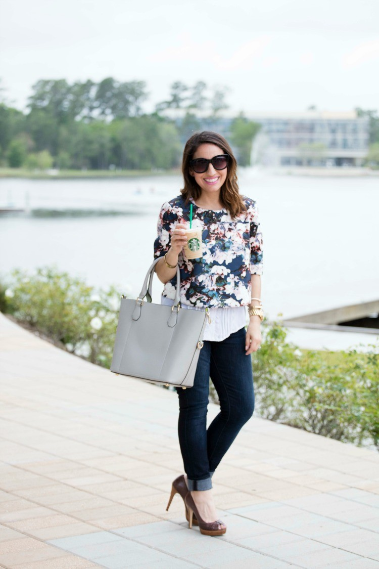 Floral crop top, white blouse, skinny jeans, and brown heels
