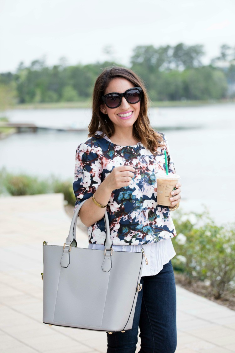 Floral spring layered top with cutest grey bag