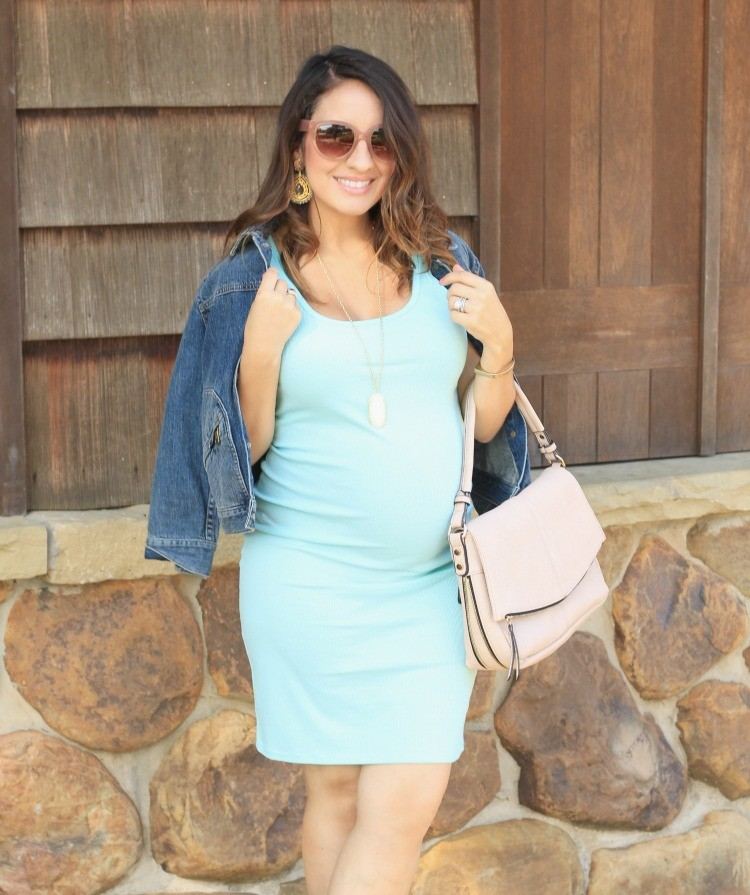 Cute Denim Jacket and the perfect light blue dress + Maternity Style